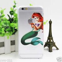 Coque Souple silicone Disney Pour iPhone 4 5 SE 6 S Plus Ariel la Petite Sirenne
