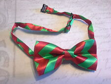 Childrens adjustable bow Tie newborn-teen red green chevron photo prop christmas
