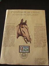 Encart 1er jour - Timbre 2e centenaire Ecole vétérinaire d'ALFORT 1967 - N°1527