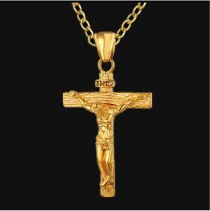 Mens Women Chain Necklace Cross Stainless Steel Pendant Crucifix Jesus UK