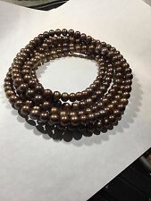 64 INCH Strand Chocolate Mocca Color 8 to 9 MM Pearl Necklace 225 Pearls !!