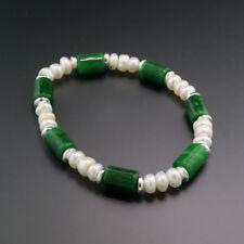 Armband grüne Jade 8 x 13 mm, weiße Zuchtperlen Sterlingsilber, Wert 650 €, neu