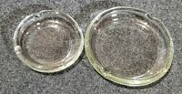 """LOT OF 2 VINTAGE CLEAR GLASS ASHTRAYS 8"""" & 10"""" POSSIBLE GLOW GLASS NICE!"""