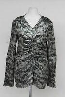 ISABEL MARANT Ladies Silver Green Lurex Lam' Silk Blend Blouse Top FR38 UK10