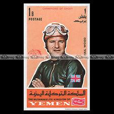 ★ MIKE HAILWOOD Pilote Vitesse 1969 ★ (YEMEN) Timbre Moto /Motorcycle Stamp #192