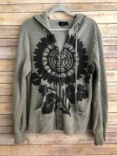 Obey Mens Distressed Peace Logo Sweatshirt Thermal Lining  Hoodie Gray ~ Size M