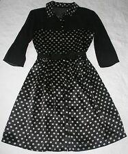 ERIN FETHERSTON Black & White Collared Floral Print Dress 100% Silk Size 0