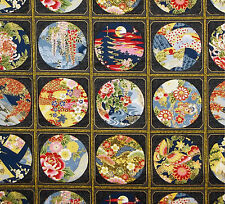 33 KONA BAY JAPANESE TWELVE TREASURES OF JAPAN  VIGNETTE BLK COTTON PNL FABRIC