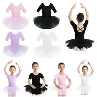 Girl Ballet Dance Dress Kid Gymnastic Short Sleeve Leotard Tutu Skirt Dancewear
