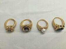 Wholesale Lot of 4 .925 STERLING SILVER & GOLD PLATED RINGS ITALIAN Design