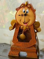"""Disney Parks Beauty and the Beast Cogsworth Clock Working Figurine 10"""" NEW"""