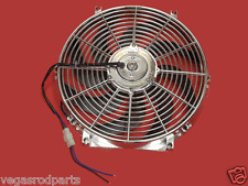 """Chrome 14 """" inch  HIGH PERFORMANCE ELECTRIC RADIATOR COOLING FAN Curved BLAD"""