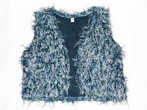WHOOPI/ GIRL'S FURRY WAISTCOAT TOP/ AGE 4/ BLUE AND WHITE/ VERY CUTE & COSY