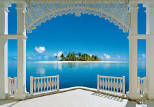 Wall Mural TROPICAL ISLAND VIEW FROM VILLA photo Wallpaper Bedroom wall art BLUE