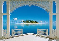 Wandbild Tropische Insel Blick vom Villa Fototapete Schlafzimmer Wandkunst blau