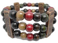 M1067 fashion 3 rows wooden beads chain stretch bracelet jewelry