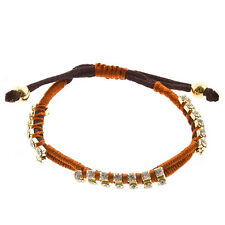 Adjustable Dark Orange Rust Brown Cord Gold Tone Bead Clear Rhinestone Bracelet