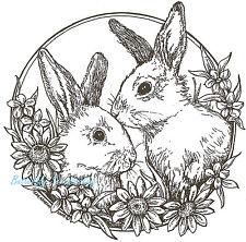 Easter Bunny Rabbit Circle Wood Mounted Rubber Stamp Northwoods Stamp PP6469 New