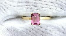 14Kt REAL Yellow Gold 7x5 Emerald AAA Pink Tourmaline Gemstone Gem Ring Size 6.5