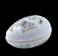 Vintage 1974 Avon Egg Trinket Butterfly Porcelain Painted With 22k Gold Trim