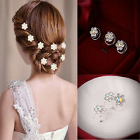 Wholesale 12Pcs Petal Bridal Wedding Prom Crystal Rhinestone Hair Pins Headwear