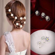 Wholesale 12 x Petal Bridal Wedding Prom Crystal Rhinestone Hair Pins Headwear