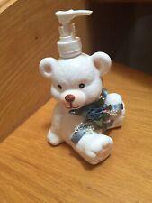White Teddy Bear Ceramic Soap Lotion Pump Dispenser