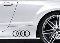 2x Side Skirt Stickers fits Audi Rings Logo Car Decal  Premium car Decals BL111
