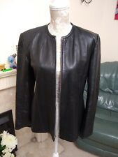 Black Real Leather And Lambskin Biker Style Jacket Small or 12/14