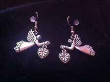 Silver Guardian Angel With Hearts Earrings, Birthday Present, Anniversary Gift