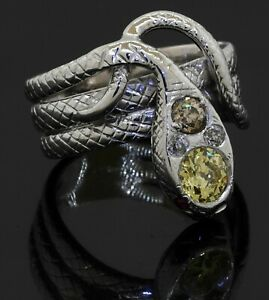 Heavy Platinum 1.20CT natural fancy diamond & ruby snake ring size 9.5