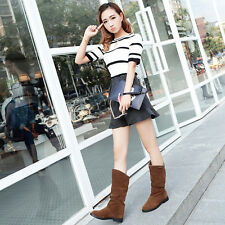 Fashion Women Winter Snow Boots Work Flat Bottom Shoes Mid Calf Suede Long Boot
