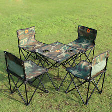 Camouflage Portable Folding Picnic 4 Chairs  Beach Camping Chair Table Set