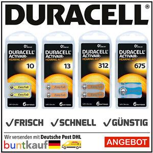 Duracell Activair Hörgerätebatterien Hearing Aid Typ 10 l 13 l 312 l 675 Auswahl