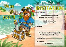 5 ou 12 cartes invitation anniversaire pirate REF 400