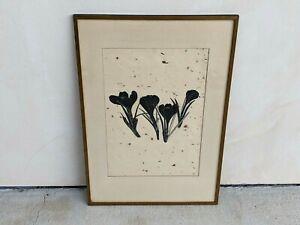 Beautiful Framed Signed Early Henry Evans Linocut Crocus Flower Handmade Paper