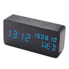 1x Rectangle Wooden LED Digital Wood Alarm Calendar Thermometer Desk Clock Decor