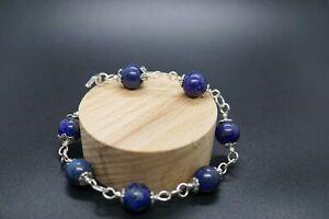 Sterling Silver Lapis Lazuli Bracelet 7'' 10mm Decemeber Birthstone Gift For Her