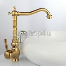 Luxury Gold Color Brass Swivel Spout Kitchen Sink Faucet Mixer Taps Ugf014