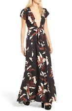 """New SOLD OUT Med Tularosa """"SID"""" Plunging V-Neck Floral Wrap Maxi Dress RTL$238"""