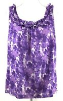 ANN TAYLOR LOFT womens blouse SMALL purple white ruffle sleeveless cotton (J205)