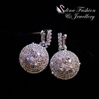 18K White Gold Plated Exquisite Full Diamond Sparkling Double Halo Stud Earrings