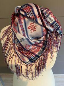 Seidentuch Trachtentuch blau rot silber + Fransen Jaquard Tuch Seide