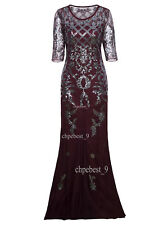 1920s Gatsby Dress Long Wedding Prom Dresses 2/3 Sleeve Sequin Party Evening