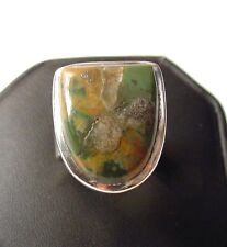 Gorgeous Fancy 925 Sterling Silver Rhyolite Ring sz6 F63