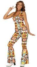 Ladies 60s 70s Hippie Costume Adults Hippy Fancy Dress Halterneck Jumpsuit