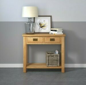 Baysdale Rustic Oak 2 Drawer Console Table / Country Hallway Telephone Table