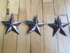 "(Set of 3) PATRIOTIC AMERICANA BARN STARS 3.5"" AMERICAN RUSTIC DECOR"