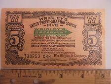 WRIGLEY'S SPEARMINT GUM UNITED PROFIT SHARING COUPON NEW YORK NY CASH VALUE .01