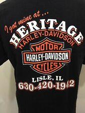 Harley Davidson Motorcycles Mens L Black Cotton T-Shirt Heritage Lisle IL